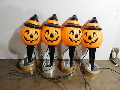 VTG Empire Halloween Pumpkin Blow Mold Light Toppers Pathway Cord & RARE STAKES