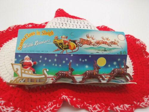 Vintage Hard Plastic Santa Claus in Sleigh w/  6 Reindeer Christmas Decoration