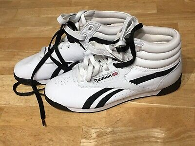 Reebok Freestyle Hi Top Shoes White With Black Accent Women's Sz 9 Free Shipping