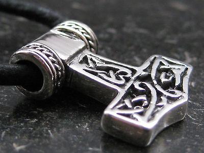 Thor s Hammer 925'er Silber + Echtlederband Anhänger Wikinger   / KA160