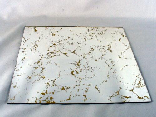 "SET OF 6 VINTAGE GOLD VEIN GLASS MIRROR TILES 12""X12"" MID CENTURY MODERN 60S 70S"