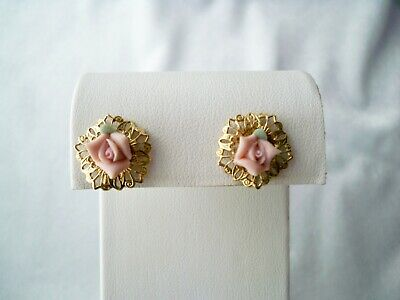 Vintage Petite Pink Porcelain Rose Gold Tone Filigree Clip On Earrings