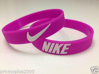 Nike Sports Baller Silicone Wristband Bracelet, USA Shipping ! Pink / White logo