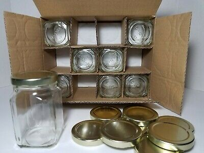 Glass Candy Jars Wholesale (NEW 8 Hexagon Glass Jars w/Gold Lids 8oz Candy Sauce Jelly Jam Honey Food)