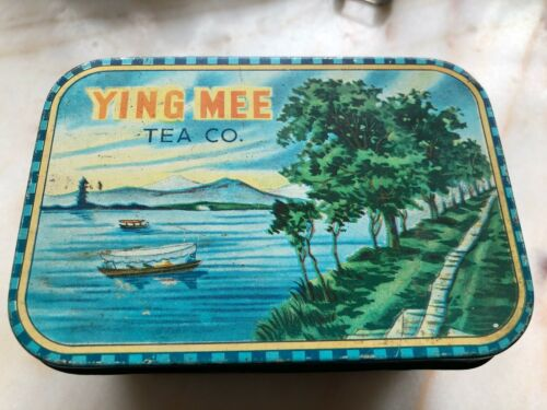 "Ying Mee Woo Loong Tea Co. 5 oz. Tin Empty 5 x 3.5 x 3.5"" Rare Hong Kong Vintage"