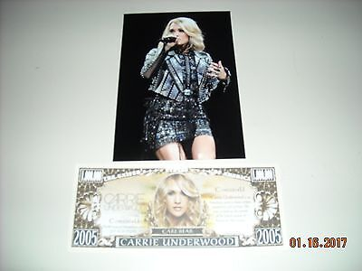 CARRIE UNDERWOOD 4 BY 6 PHOTO + COLLECTABLE CARRIE MONEY(WOW!)SEXY SINGER
