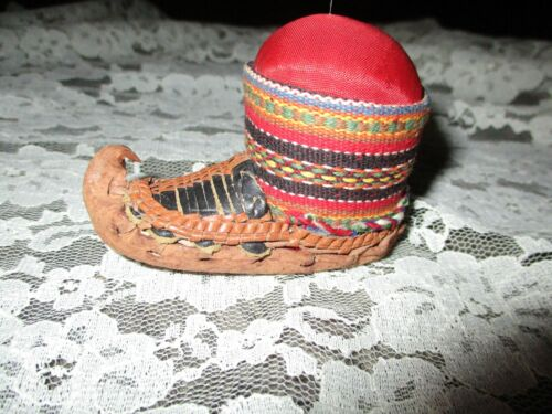 Moccasin Pin Cushion-Leather Bottom-Cloth Top
