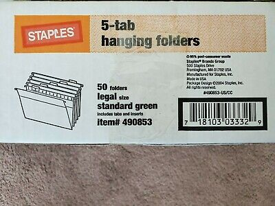 Staples 5-tab Hanging Folders 490853 Legal Size Standard Green 50 Folders