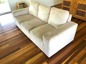 3 Seater Suede Look Sofa in Stone/Sand Colour