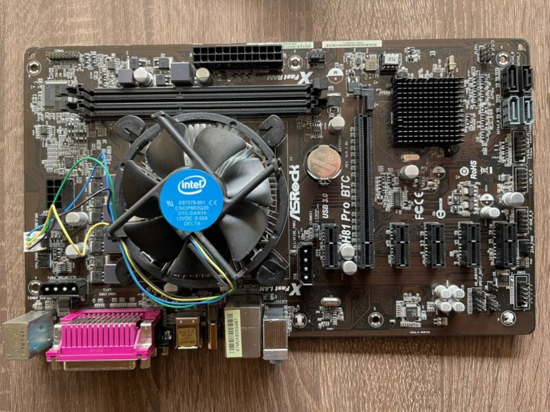 Asrock H81 Pro BTC Motherboard with CPU & RAM - Used for GPU Mining