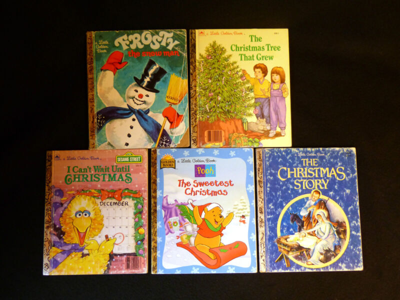 Five Little Golden books, Christmas stories LOT R, good or better condition