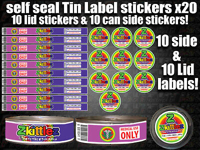 10x RX Medical Cannabis ZKITTLEZ Cali Tin Labels Stickers Marijuana weed CALI
