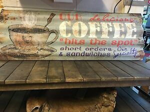 Old Retro Vintage Industrial Coffee Sign Cafe Tea Room Metal Corrugated Shop