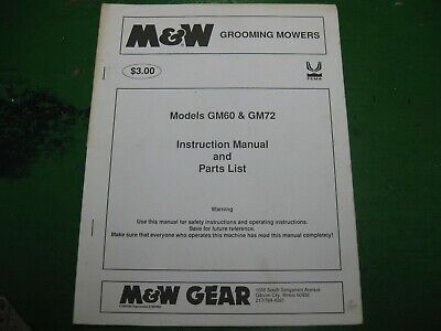 Mw M W Gm60 Gm72 Gm 60 72 Grooming Mower Nos Manual Book