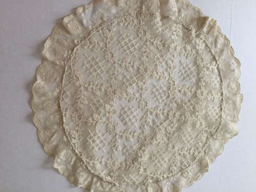 ANTIQUE BOUDOIR ROUND PILLOW  EMBROIDERED LACE - STUNNING!