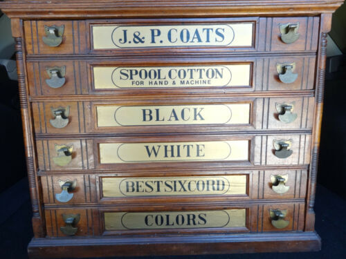 Antique J&P Coats Advertising Six Drawer Store Display Spool Cabinet PICKUP ONLY