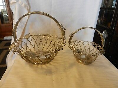 Pair of Silver Plated Wire Fruit Bread Baskets With Handles Grapes Leaves Design