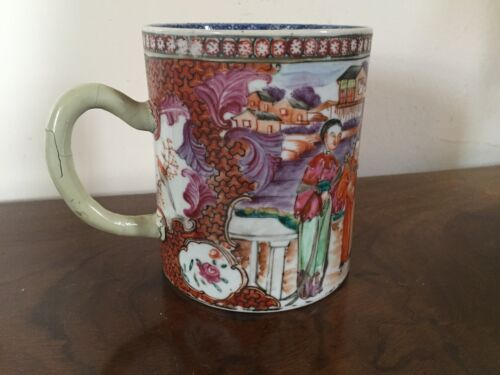 Large Antique Chinese Export Porcelain Tankard Mug 18th c. Famille Rose Court