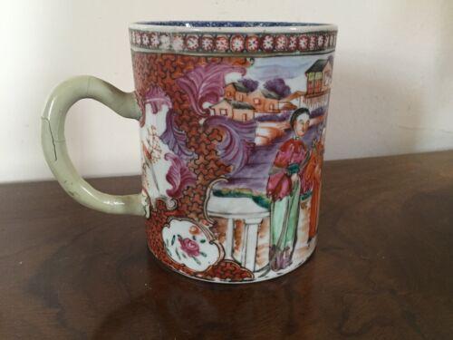 Large Antique Chinese Export Porcelain Tankard Mug 18th c. Famille Rose Court