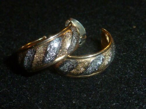 10K SOLID YELLOW & WHITE GOLD TEXTURED 3/4 HOOP POST EARRINGS