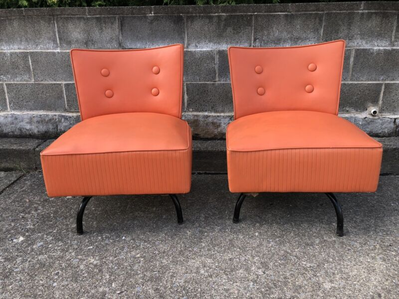 Vintage Swivel Armless Slipper Living Room Chairs Orange Vinyl MCM Mid Century