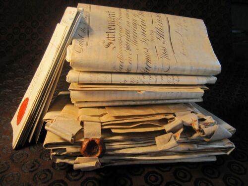 13 Antique 17th  18th 19th Century  Manuscript Indenture Lot