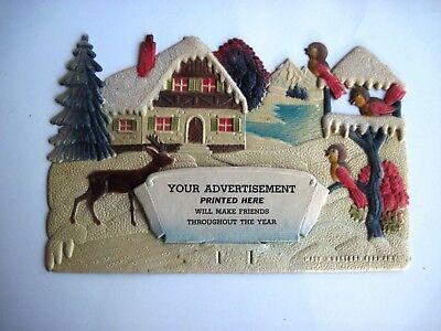 Charming Vintage Christmas German Pulp Advertising Calendar Topper w/Cute Birds* ()