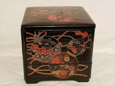 Asian Oriental 3 Tier Stacking Boxes Jewelry Trinkets