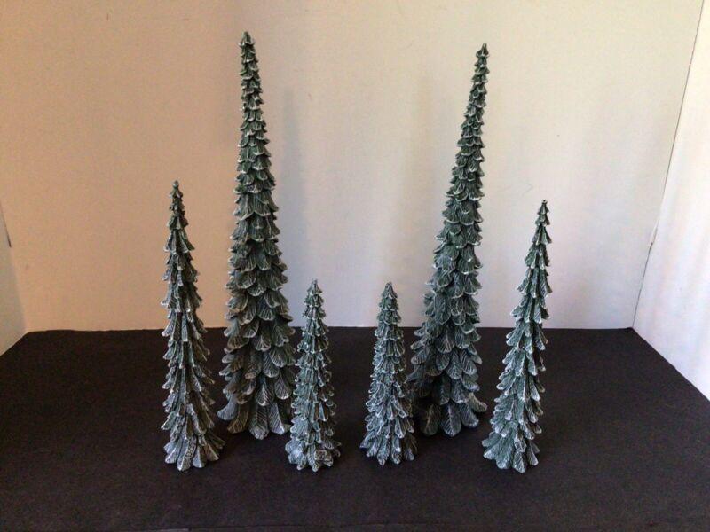 2 SETS of DEPARTMENT 56 VILLAGE PENCIL PINE TREES COLD CAST PORCELAIN #52469