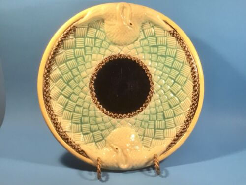 Rare Antique Majolica Swan and Basketweave Platter