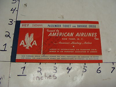 American Airlines Inc  Passenger Ticket   Baggage Check Early  1950S