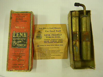 Vintage Lenk 108 Automatic Blow Torch With Original Box and Instructions  J5