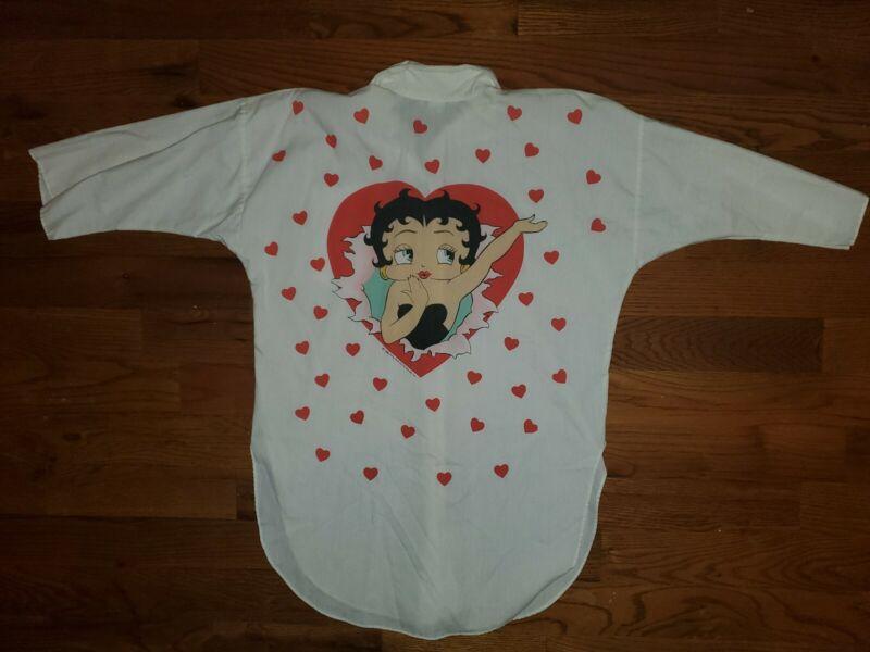 Vintage Rare 1985 Betty Boop Heart All Over Print Dress button up Shirt Sz M