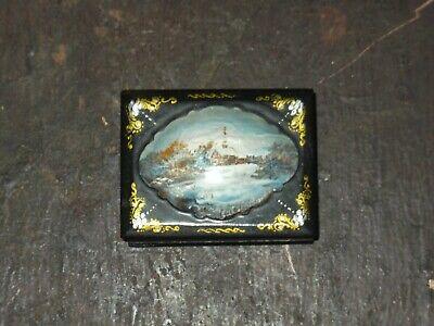 Antique Russian Enamelled Lacquer Papier Mache Trinket Snuff Jewellery Box