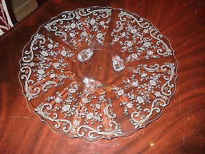 CAMBRIDGE CHANTILLY ETCHED CRYSTAL HANDLED CAKE PLATE/TRAY....NICE