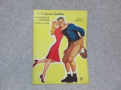 10-31-1942 CALIFORNIA BEARS vs OREGON DUCKS NCAA FOOTBALL PROGRAM Halloween Nite - Programming Halloween