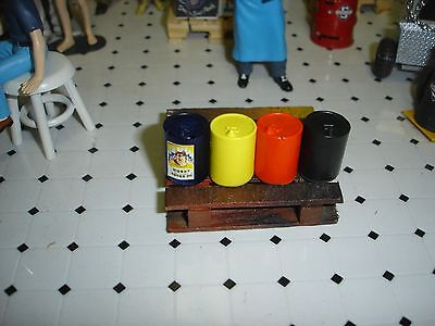 1/18 - 5 gallon oil cans - Set of 4 - SCALE - for your diorama/garage/shop