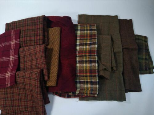lot red brown FELTED WOOL FABRIC penny rug hooking applique hand over dyed 3lbs