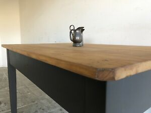 Small Antique Industrial Charcoal Dining Table