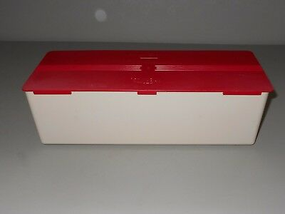 Thermos Sandwich Box Red & Tan Lunch Picnic Mid Century Plastic Sliding Lid GVC