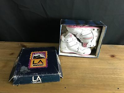1993 VINTAGE LA GEAR INFANT GIRL SNEAKERS sz 5 LA LIGHTS WHITE/PINK 1STILL WORKS for sale  Hazleton