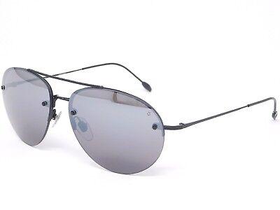 John Varvatos Base Curve Sunglasses V762 Black/ Mirrored Black lenses 58-14-140 (Curved Sunglasses)