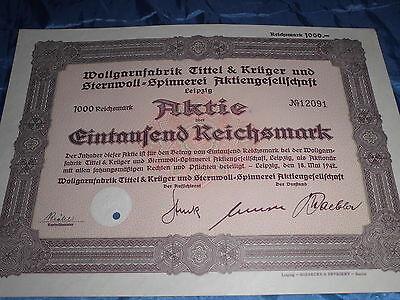 1181 : AKTIE / Wertpapier , 18. Mai 1942 , Wollgarn / Spinnerei Leipzig / 12055