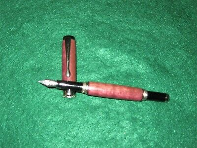 PURPLEHEART FOUNTAIN PEN-PLATINUM FITTINGS-HAND MADE-NICE GRAIN-EXOTIC WOOD