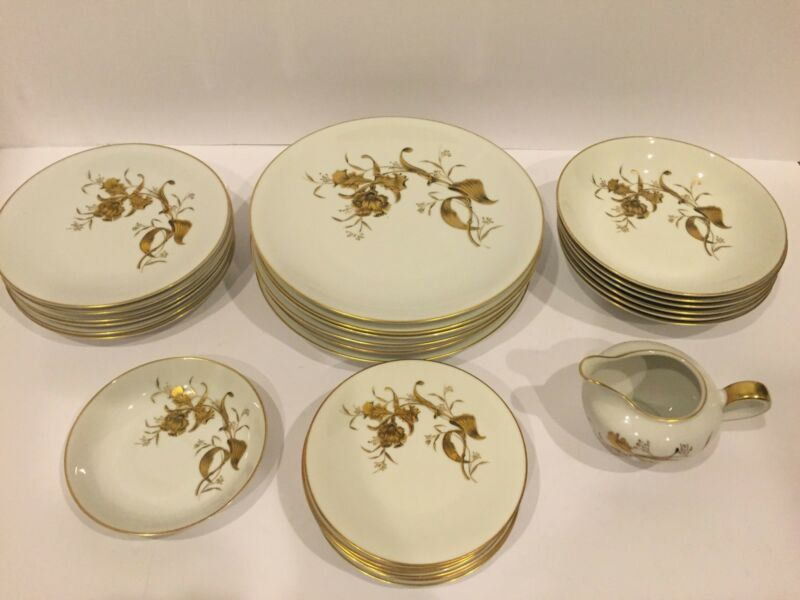 Fine Vintage 4-Pcs Dinner Set For 6 w Gold Orchids By H&Co Selb Bavaria Germany