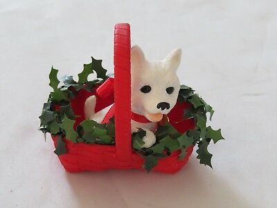 West Highland White Terrier Tree Ornament ~ in a Basket (C6)