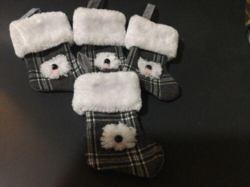 "4 hand crafted Old English sheepdog stocking ornaments w/ ""fur"" cuffs"