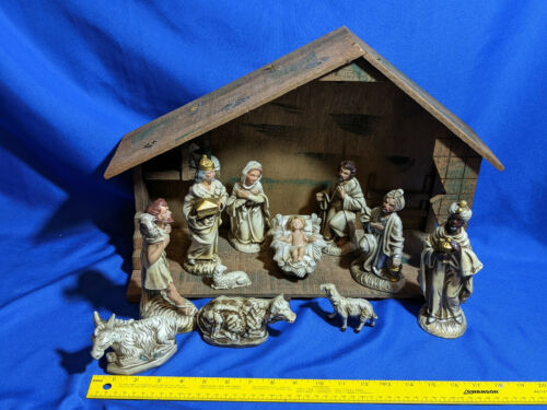 13pc VTG HUGE Xmas Nativity Scene Set Japan Figures MCM Large Wood Barn Baby