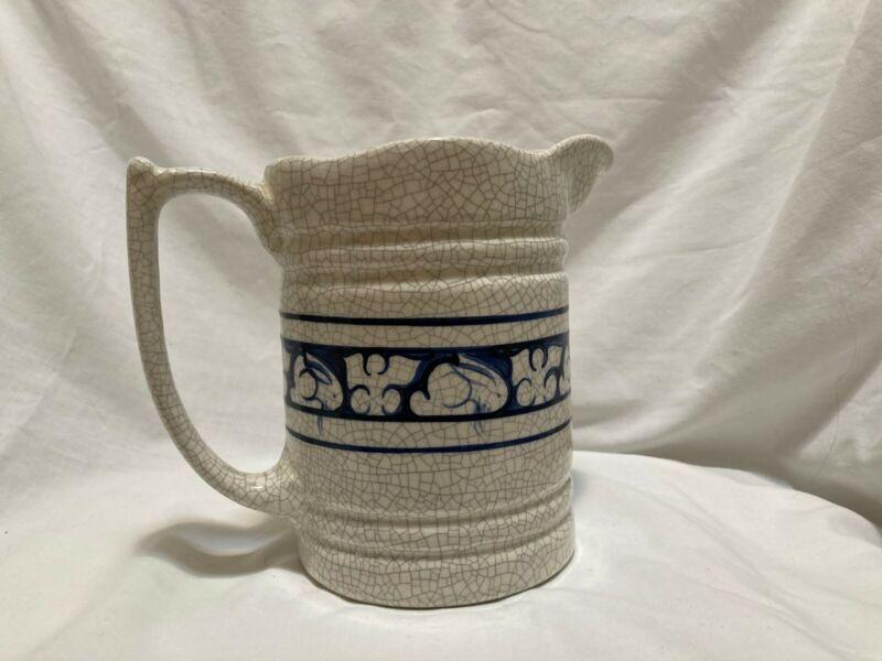 """Vintage Dedham Rabbit pottery Blue crackleware 6 1/2"""" Pitcher Signed 1983"""
