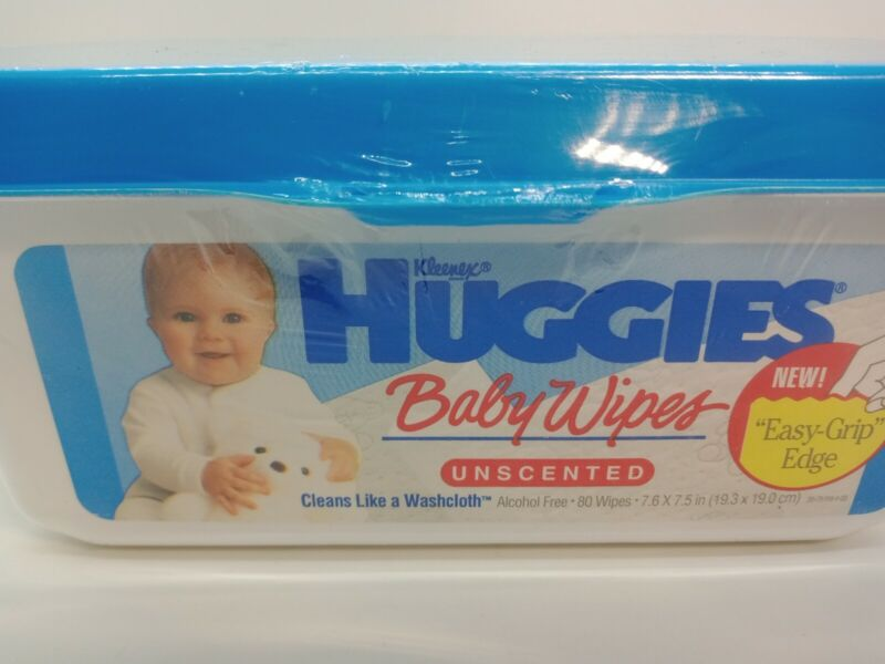 New Sealed Vintage 1992 Kleenex Huggies Baby Diaper Wipes Container RARE w/wipes